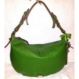 Large green leather hobo handbag